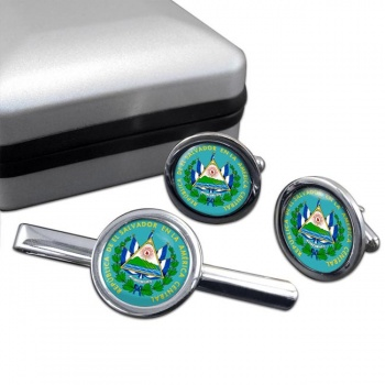 El Salvador Round Cufflink and Tie Clip Set