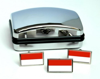 Salzburg Austria Flag Cufflink and Tie Pin Set