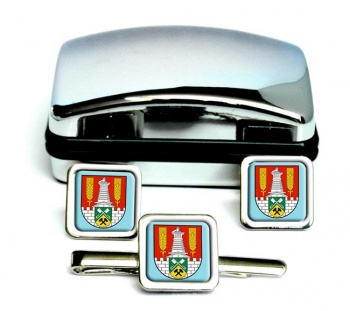 Salzgitter (Germany) Square Cufflink and Tie Clip Set
