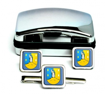 San Luis (Mexico) Square Cufflink and Tie Clip Set
