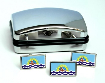 Argentine Santa Cruz Flag Cufflink and Tie Pin Set