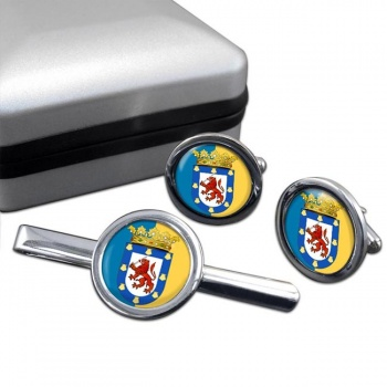 Santiago (Chile) Round Cufflink and Tie Clip Set