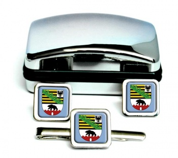 Sachsen-Anhalt (Germany) Square Cufflink and Tie Clip Set