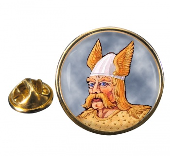 Saxon Warrior Round Pin Badge