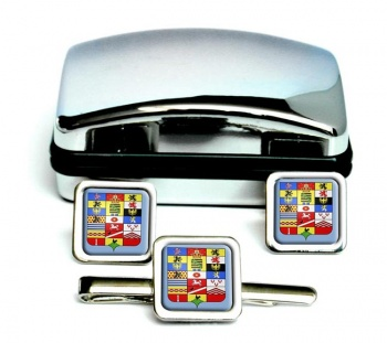 Sachsen-Altenburg (Germany) Square Cufflink and Tie Clip Set