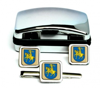 Schwerin (Germany) Square Cufflink and Tie Clip Set