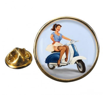 Pin-up Scooter Girl Round Pin Badge