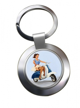 Pin-up Scooter Girl Chrome Key Ring