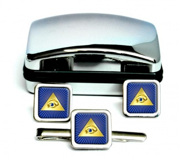 Eye of Providence (All Seeing Eye of God) Square Cufflink and Tie Clip Set