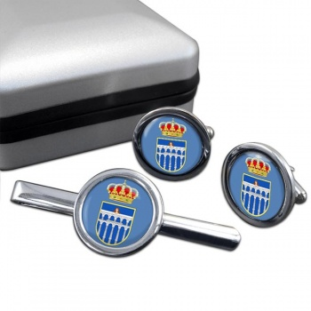 Segovia (Spain) Round Cufflink and Tie Clip Set