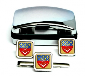Seine-Saint-Denis (France) Square Cufflink and Tie Clip Set
