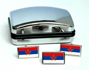 Yugoslavia Serbia Flag Cufflink and Tie Pin Set