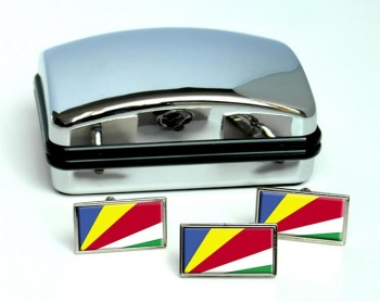 Seychelles Flag Cufflink and Tie Pin Set