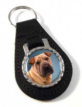 Shar Pei Leather Key Fob