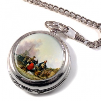 Fisherfolk on the Hampshire Coast by William Shayer Pocket Watch