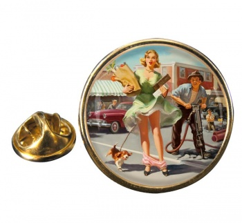 Shopper's Dilemna Pin-up Round Pin Badge