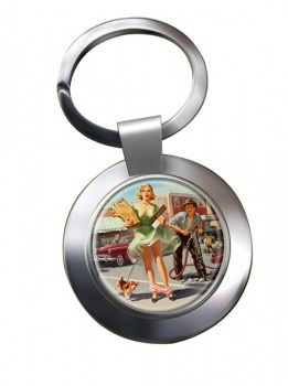 Shopper's Dilemna Pin-up Chrome Key Ring