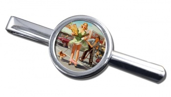 Shopper's Dilemna Pin-up Round Tie Clip