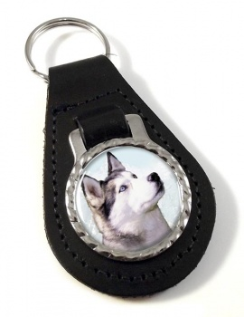 Siberian Husky Leather Key Fob