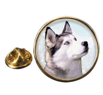 Siberian Husky Round Pin Badge