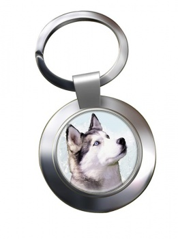 Siberian Husky Metal Key Ring