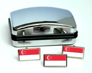 Singapore Flag Cufflink and Tie Pin Set