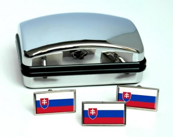 Slovakia Slovensko Flag Cufflink and Tie Pin Set