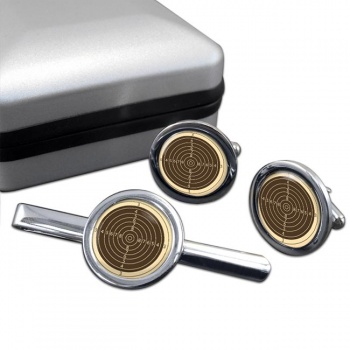 Small Bore Rifle Target Round Cufflink and Tie Clip Set