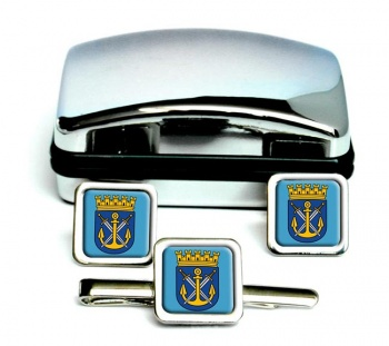 Solingen (Germany) Square Cufflink and Tie Clip Set