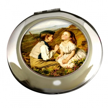 Its Touch and Go to Laugh and No by Sophie Anderson Round Mirror