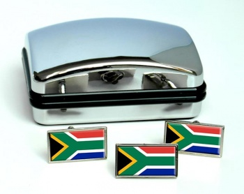 South Africa Flag Cufflink and Tie Pin Set