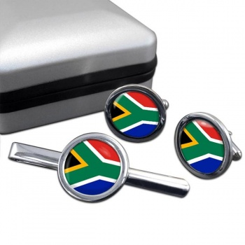 South Africa Round Cufflink and Tie Clip Set