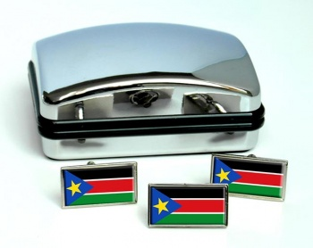 South Sudan Flag Cufflink and Tie Pin Set