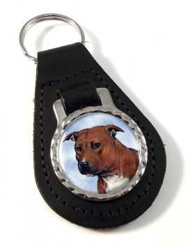 Staffordshire Bull Terrier Leather Key Fob