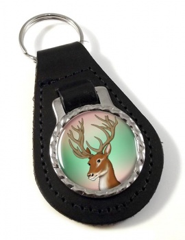 Red Deer Stag Leather Key Fob