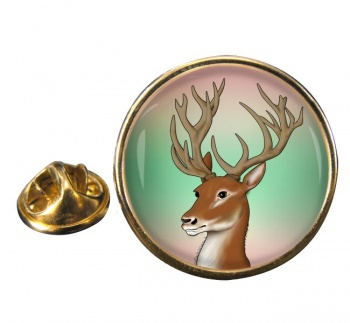 Red Deer Stag Round Pin Badge