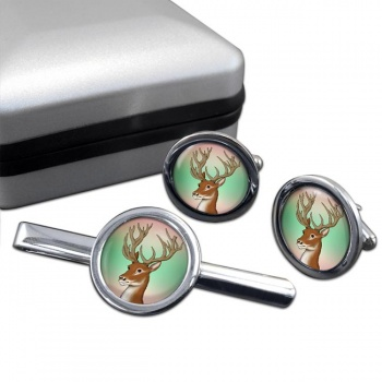 Red Deer Stag  Cufflink and Tie Clip Set