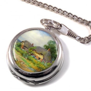 Two Cottages by Lilian Stannard Pocket Watch