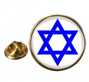 Star of David Leather Round Pin Badge