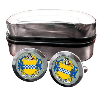 Stewart Coat of Arms Round Cufflinks