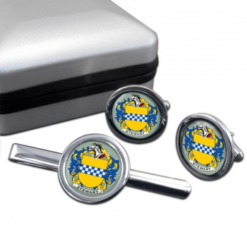 Stewart Coat of Arms Round Cufflink and Tie Clip Set