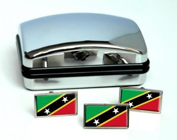 Saint Kitts and Nevis Flag Cufflink and Tie Pin Set