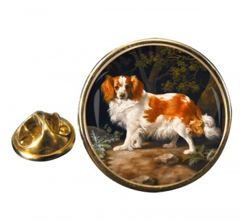 King Charles Spaniel by George Stubbs Round Pin Badge