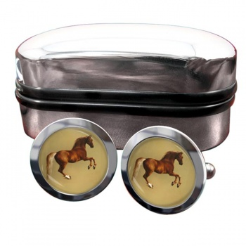 Horse Forcene by George Stubbs  Round Cufflinks