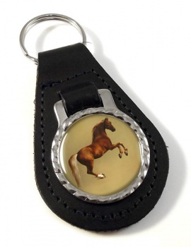 Horse Forcene by George Stubbs Leather Key Fob
