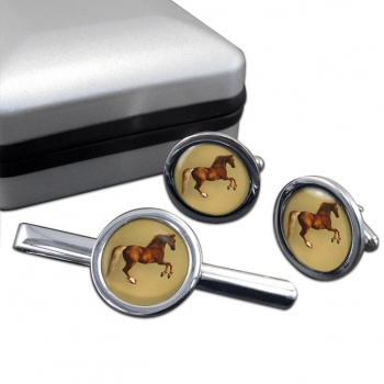 Horse Forcene by George Stubbs  Cufflink and Tie Clip Set
