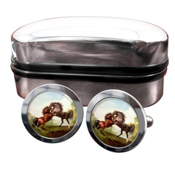 Fighting Stallions by George Stubbs  Round Cufflinks
