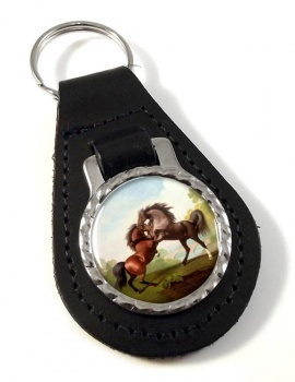 Fighting Stallions by George Stubbs Leather Key Fob