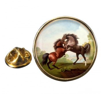 Fighting Stallions by George Stubbs Round Pin Badge
