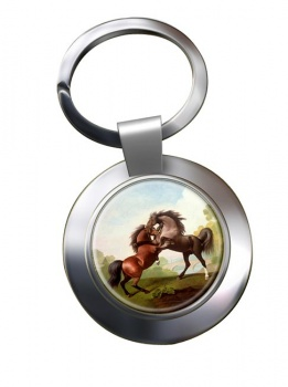 Fighting Stallions by George Stubbs Metal Key Ring